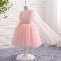 Wholesale Cheapest Girls Dresses - Pink Flower Girl Dresses Cheapest 2017 Little Kids First Communion Birthday Party Gowns Princess A Line Sheer Backless MC1093