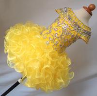 vestido amarelo vestidos juniors venda por atacado-Organza amarelo backless beading colher vestido de baile curto mangas mini meninas cupcake little flower pageant party pageant vestidos vestidos júnior