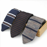 Wholesale New Neck Design For Man - New Design Fashion Male Brand Slim Designer Knitted Ties Neck Ties Cravate Narrow Skinny Neckties For Men Striped Ties
