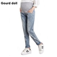 Wholesale Doll Overall - Gourd doll Maternity pregnancy jeans overalls pants for pregnant women Elastic waist jeans pregnant pregnancy overalls clothes