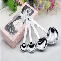 Wholesale Measure Love Spoons - Love Wedding Favors of Simply Elegant Heart Shaped Stainless Steel Measuring Spoon 4pcs set Gift Box