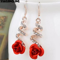 Wholesale 14k Gold Flower Earrings - Korea Fashion Lovely Temperament Crystal Red Rose Flower Women Dangle Drop Earring for Wedding Party Bridal Earring