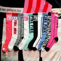 Wholesale Colorful Over Knee Socks - Gift Lovely Ladies Long Women Sock Stripey vs love Stocking Pink colorful dress Skateboard Stripe Over Harajuku Knee High Socks