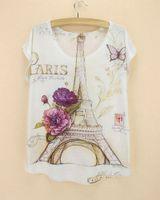 Wholesale Ladies Plus Size Tops Patterns - Wholesale-Famous La Tour Eiffel pattern T-shirt women fashion design Paris lady culture top tees 2014 summer dress plus size free shipping