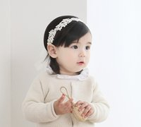 Baby Girls Headbands Coreano Cute lace Pearl Princess Headwear Kids Ribbon Hairbands Crianças Acessórios para cabelo Headdress KHA504