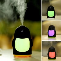 Wholesale Penguin Lamp - Wholesale- Portable Penguin Shaped Humidifier Air Purifier 7 Color Changing USB Powered Mini Night Light Household Kids Room Linght Lamp