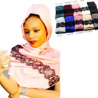 Wholesale Muslim Wholesalers China - Wholesale- New Fashion muslim scarf china silk lace designer lady islamic hijab caps handkerchief bandana abaya head coveringloop shawl