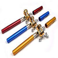 Wholesale Mini Ice Fishing Rods - Mini Portable Aluminum Alloy Pocket Pen Shape Fish Fishing Rod Pole With Reel 6 Colors