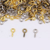 Wholesale Eye Screws For Jewelry - 2000 Pcs Silver   Gold   Bronze   White K Tone Screw Eyes Pin Findings for Clay Jewelry, Resin, Bead. 2 Size: 4 * 8mm, 5 * 10mm