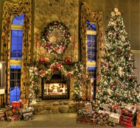 Wholesale Luxury Decorated Christmas Trees - Vinyl Christmas Fireplace Backdrop Luxury Indoor Room Decorated Green Pine Tree Gifts Boxes New Year Holiday Family Photo Shoot Backgrounds