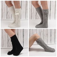 Wholesale Socks Sellers - Hanging Ball Diamond Warm Foot Sleeve Best Sellers Autumn And Winter Lady Medium Long Knitting Worsted Adult Solid Color Socks 3 colors