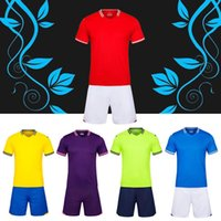 Wholesale Wholesale Blank Football Jersey - 2017 Adult Men's kit Customized your team Logo Blank Soccer Jerseys set Uniform Camisetas de Futbol with Shorts Football Shirts Men kits