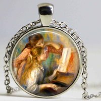 Wholesale Famous Paintings Renoir - RENOIR necklace Glass Custom - Young Girls At The Piano - Jewerly Renoir Famous Painting Artkeyring Cabochon necklace