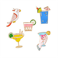 Vente en gros - Parrot Birds Cocktail à la main Cocktail au citron Bouteille en émail Broche Broches Bouton à boutons Chapeau Veste Sac Badge Pin Fashion Bijoux à la plage
