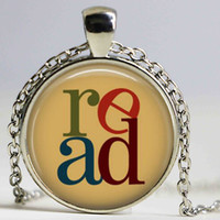 Wholesale Vintage Book Chain - Book Necklace Read Reading Bookworms Librarian Jewelry Art Pendant Silver Plated Chain Vintage Choker Necklace Men Women