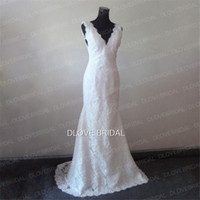 Wholesale Low Priced Mermaid Wedding Dresses - Low Price High Quality Full Lace Wedding Dresses Deep V Neck Backless Sleeveless Mermaid Chapel Train Vintage Bridal Gown Factory Real Photo