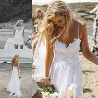 Wholesale Cheap Empire Line Tops - Summer Beach Wedding Dresses 2017 A Line Chiffon Spaghetti Straps Side Split Lace Top Cheap Bridal Gowns For Party