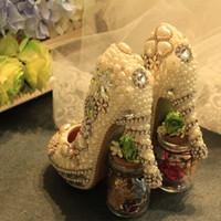Wholesale imitation designer shoes - Newest Designer White Pearls Silver Rhinestone Bridal Wedding Shoes Delicate Handmake Wedding High Heels Anniversary Ceremony Women Shoes