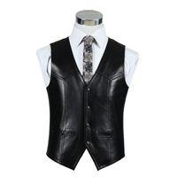 echtes leder braun jacke großhandel-Großhandels-Schwarzes echtes Leder-Motorrad-Weste-Mens-reale Schaffell-Jacke Herbst-Winter-Brown-Weste-formale Weste-Qualitäts-Kleidung