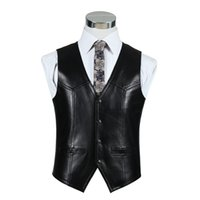 Wholesale Mens Real Leather Motorcycle Jacket - Wholesale- Black Genuine Leather Motorcycle Vests Mens Real Sheepskin Jacket Autumn Winter Brown Waistcoat Formal Vest Quality Clothing
