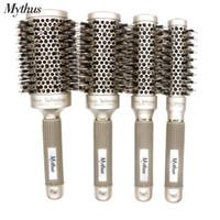 escova redonda aquecida venda por atacado-4 tamanhos de cerdas de javali escova de cabelo de nylon nano cerâmica escova de cabelo conjunto de escova de alumínio anti-calor rodada escova de rolamento
