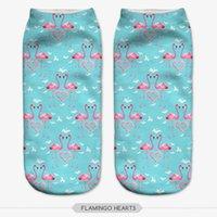 Wholesale Flamingo Socks - Wholesale- NO359 3D Printed Women Socks harajuku Cartoon Flamingo Hearts Low Ankle Calcetines Meia Sokken Casual Novelty Sock Slippers