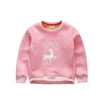 Wholesale Deer Thick Hoodie - Wholesale- Kids Clothing 2015 New Autumn Winter Warm Thick Deer Girls Hoodies Sweatshirts Boys Soft Velvet Pullover Coat