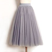 Wholesale wholesale tulle skirt - Wholesale- 4 Layers Tulle Skirts Women Summer Elastic High Waist Ladies long mesh Skirt Womens Tutu Maxi Pleated Skirt midi Faldas Saias