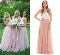 Wholesale silk two piece - Two Pieces Long Bridesmaid Dresses Spaghetti Silk Like Satin Tulle Floor Length White Pink Country Bridesmaid Gown Beach Wedding Party Dress