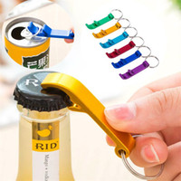 Wholesale newest bottle opener - Newest Kitchen Tools mixed colors Aluminum alloy bottle openers with keyring ,laser engraving logo bottle Openers I116
