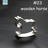 Wholesale Horse Mold - Wholesale- 2015 wooden horse shape aluminium alloy cookie cutter fruit  pudding toast mold metal cutter cookie