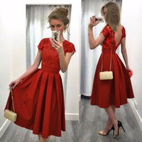 Wholesale Dress Red Lace Sleeves Tall - Europe and the United States spring and summer of 2017 pure color round collar short sleeve of tall waist sexy backless dress dress