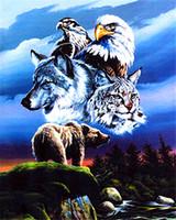 ingrosso pittura famiglia animale-Diamante mosaico pieno diamante quadrato ricamo cucito famiglia animale fai da te diamante pittura a punto croce kit Mosaico Home Decor zf00144