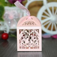 Wholesale Love Birds Wedding Candy Box - Wholesale- 50pcs Love Heart White Bird Cage Small Laser Gift Candy Boxes Wedding Party Favor With Ribbon Bags Decor Pink