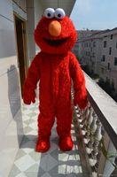 traje de mascote vermelho venda por atacado-Venda quente Adulto Elmo Red Monster Mascot Costume Fancy Party Dress Suit Frete Grátis