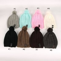 Wholesale Knitted Hats Big Ball - Wool Knitting Beanie Soft With Big Hair Ball Hedging Cap Two Bottons Keep Warm Hats For Women 8 5xw B