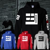 Wholesale free color printing - Winter Men's Fleece Hoodies Eminem Printed Thicken Pullover Sweatshirt Men Sportswear Fashion Clothing free shipping
