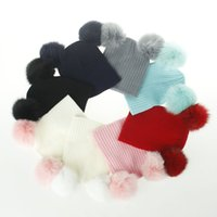 Wholesale Double Ball Knitted Cap - Cute Winter Beanie Hat With Fox Fur Pompom Knitted Hat For Baby Girls Boys Kids Child Soft Warm Double Fur Ball Earflaps Caps