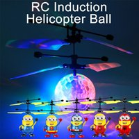 Wholesale Drone Led - RC Toy RC Flying Ball Crystal ball infrared Induction Helicopter Ball Colorful LED Flashing Lighting drone Cartoon Minions multiple styles