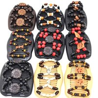 Wholesale Hair Comb Bead Styles - 30pcs lot Mixed Style Comb Wooden Multicolor Beads Beads Comb Wedding Bride Hair Accessories Comb Jewellary Party Occassion Gifts