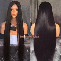 Wholesale Long Malaysian Hair - Malaysian Hair Long Straight Human Hair Wigs for black women Full Lace Wigs With baby hair bleached knots Natural looking