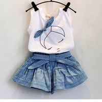 Wholesale Grid Girl Outfits - 2017 new summer lovely girls Short Sleeve T Shirt + grid pantskirt set Children Outfits baby kids girl bowknot headband clothes bc17031