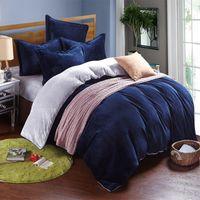 Wholesale Fleece Sheet Set Full - Wholesale- Winter fleece bedding set AB side duvet cover flannel fleece flat sheet 3   4pcs solid home bedclothes caroset bed linens warm