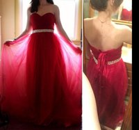 Wholesale Affordable Black Ball Gowns - Strapless Tulle Prom Dress Beaded Sash Puffy Ball Gown Empire-Waist Long Prom Evening Dresses 2018 Affordable Gowns