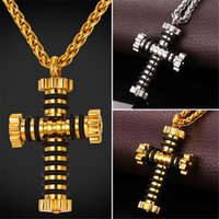 Wholesale Men Access - U7 New Gold Plated Stainless Steel Cross Pendant Necklaces With Gear Wheel Pattern Silicone Hip Hop Jewelry Rope Chain For Men Bijoux Access