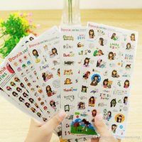 Wholesale Girls Sticker Album - 6 pcs set photo album Scrapbook decoration Black hair girl stickers DIY Handmade Sticker Gifts Card Scrapbooking Free shipping