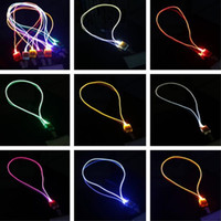 Wholesale Novelty Lanyards Wholesale - New Arrival LED Lanyard Novelty Lighting LED Optical Fiber Luminous Lanyard Work Card Hanging Rope Light Smile Face LED Lanyard + Card