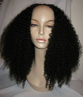Wholesale Long Kinky Curl Wig - 180density Afro Kinky Curly U Part Human Hair Wigs Virgin Brazilian Upart Wig Human Hair Afro Curls Nautral Black Sale