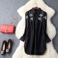Wholesale Dresses Loose Beads - The new Europe and the United States women's 2017 spring Lapel nail bead long thin straight loose shirt dress