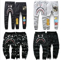 Wholesale Running Pants Men Long - Japan Camo Shark Pant Trousers Fashion WGM Harem Pants Fleece Sportswear Long Trousers Jogger Running Sweatpant